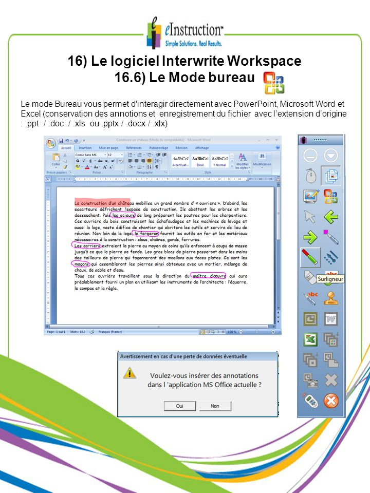 16) Le logiciel Interwrite Workspace 16.6) Le Mode bureau