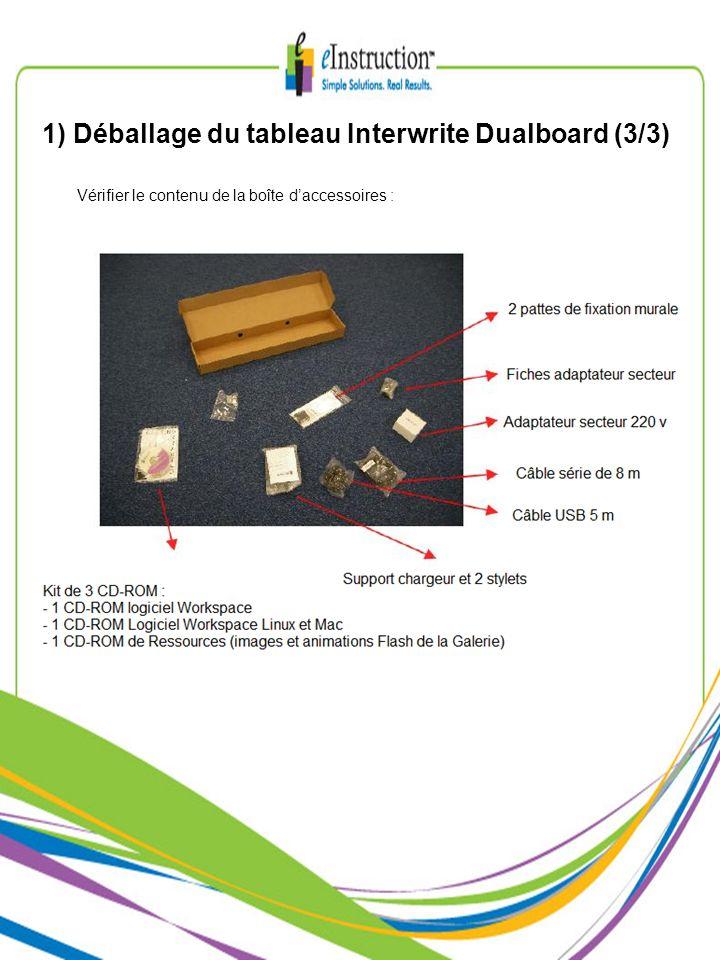 1) Déballage du tableau Interwrite Dualboard (3/3)