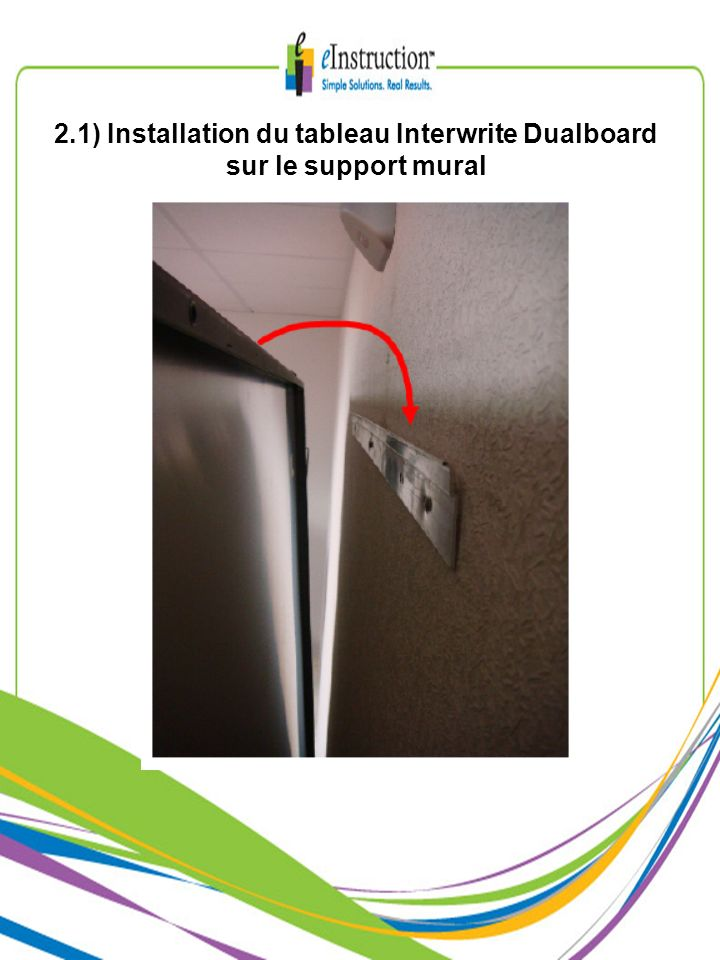 2.1) Installation du tableau Interwrite Dualboard sur le support mural