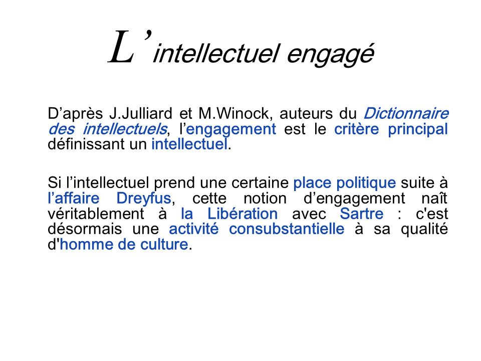 L'intellectuel engagé