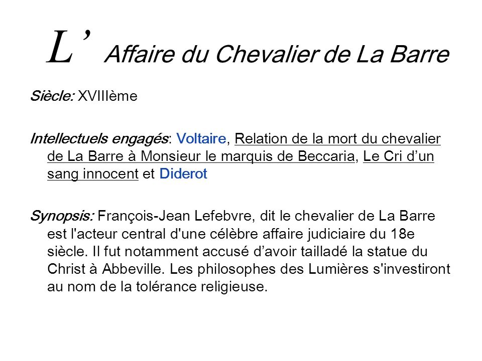 L' Affaire du Chevalier de La Barre