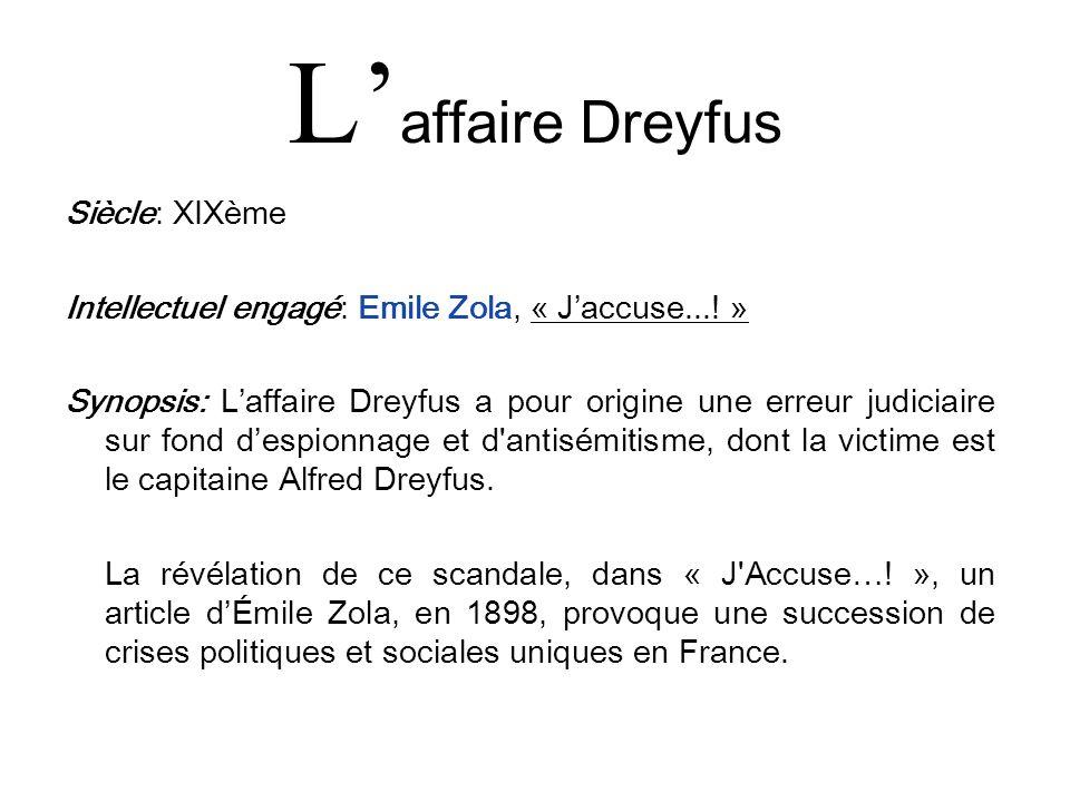 L'affaire Dreyfus Siècle: XIXème