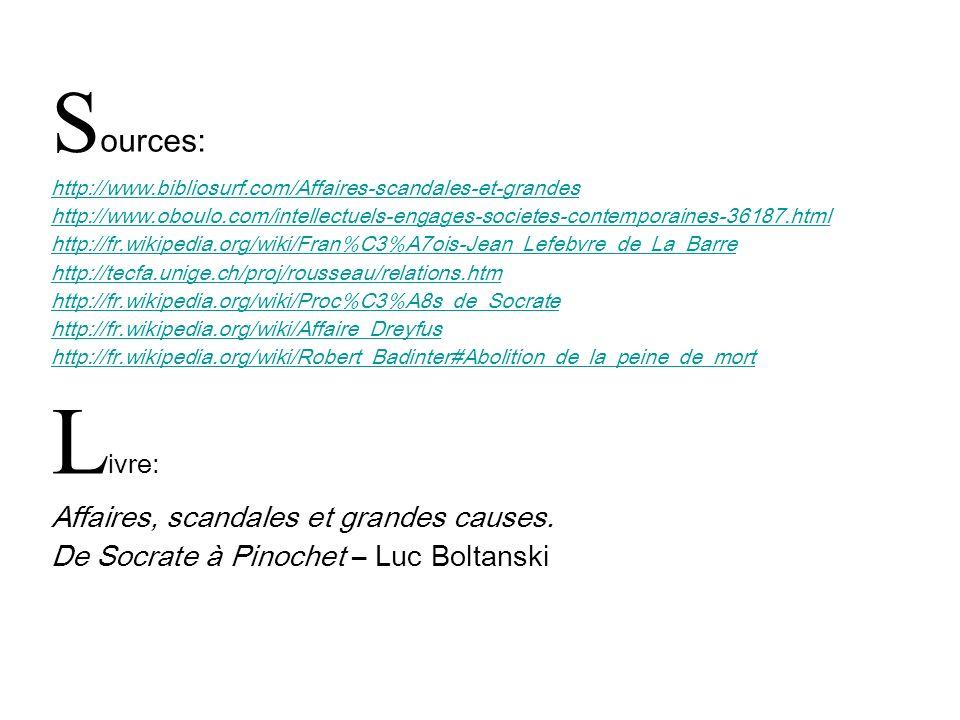 Livre: Sources: Affaires, scandales et grandes causes.