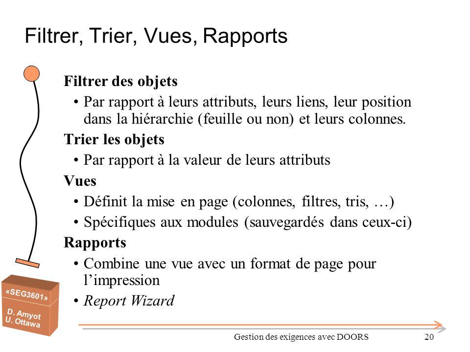 Filtrer, Trier, Vues, Rapports