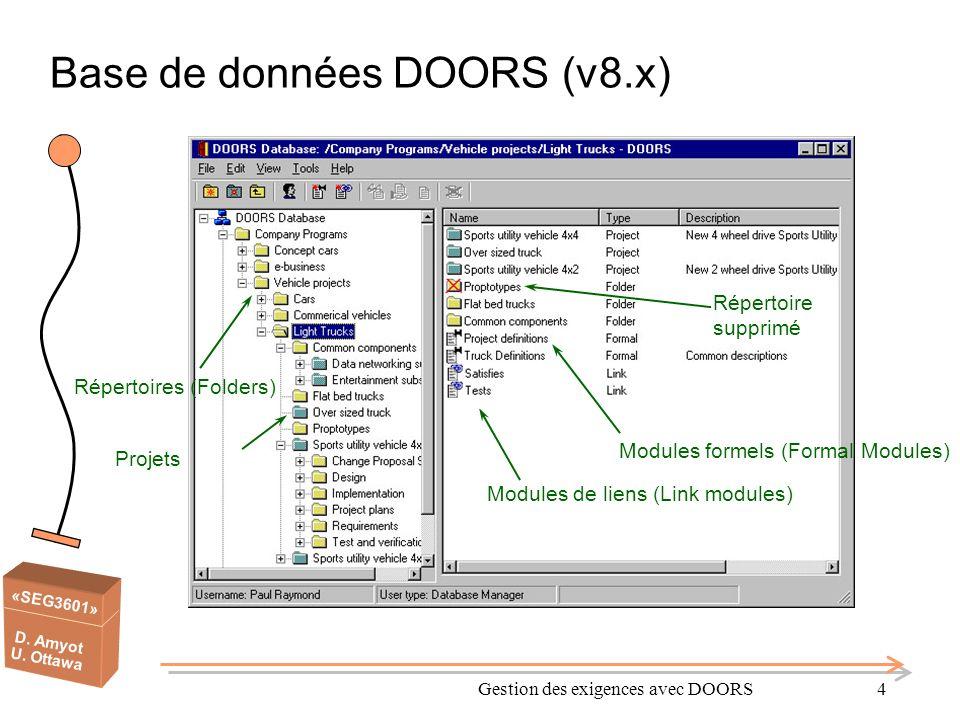 Base de données DOORS (v8.x)