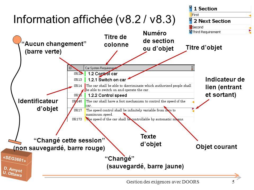 Information affichée (v8.2 / v8.3)