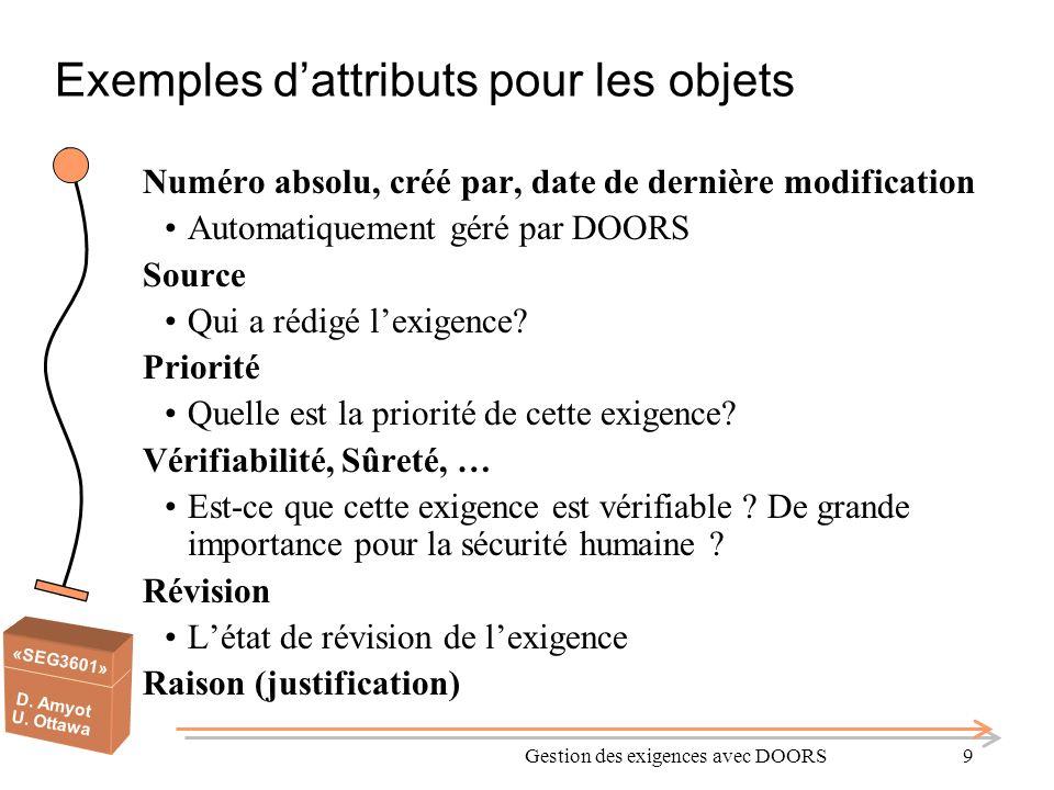 Exemples d'attributs pour les objets