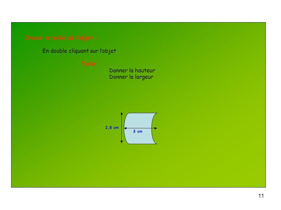 Choisir la taille de l'objet : En double cliquant sur l'objet Taille
