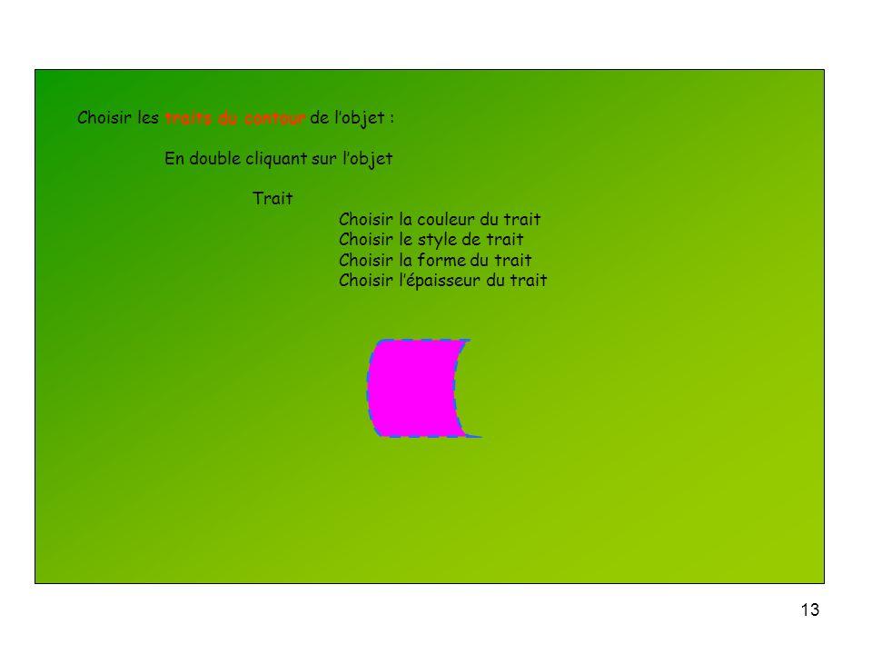 Choisir les traits du contour de l'objet :