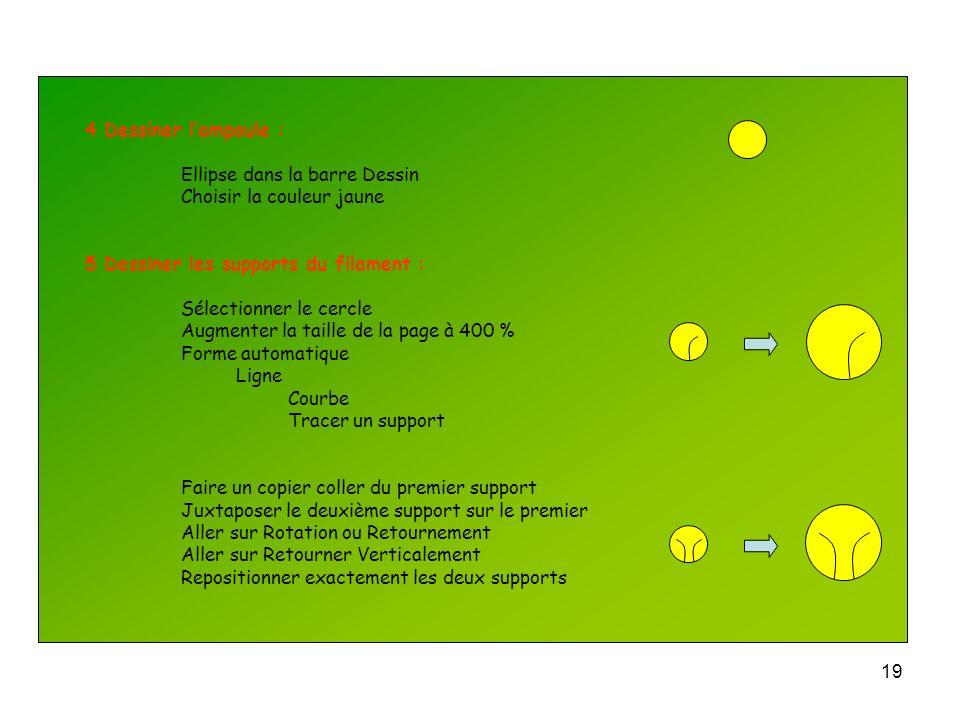 4 Dessiner l'ampoule : Ellipse dans la barre Dessin. Choisir la couleur jaune. 5 Dessiner les supports du filament :