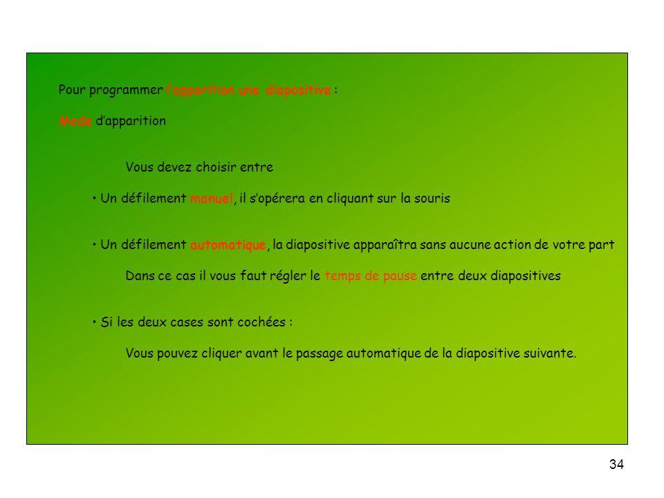 Pour programmer l'apparition une diapositive :