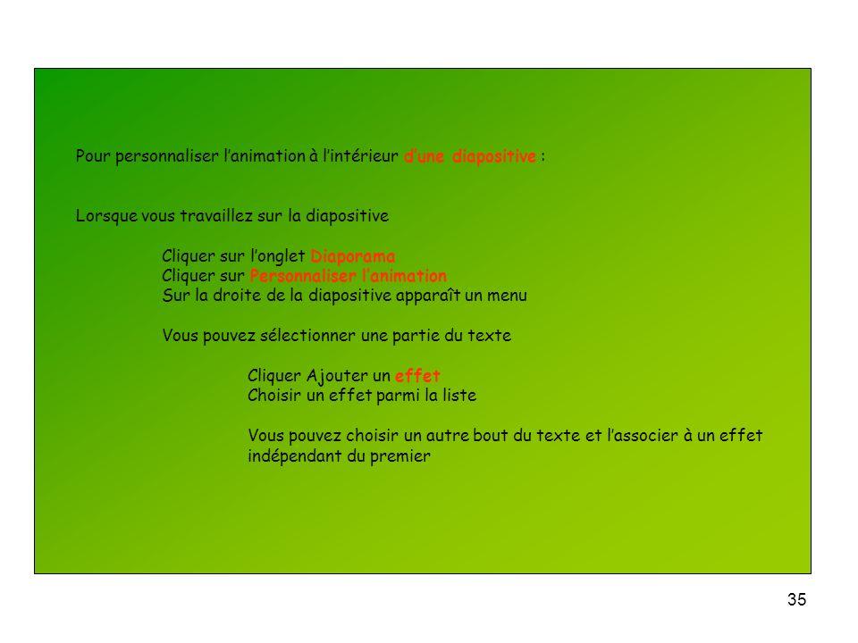 Pour personnaliser l'animation à l'intérieur d'une diapositive :