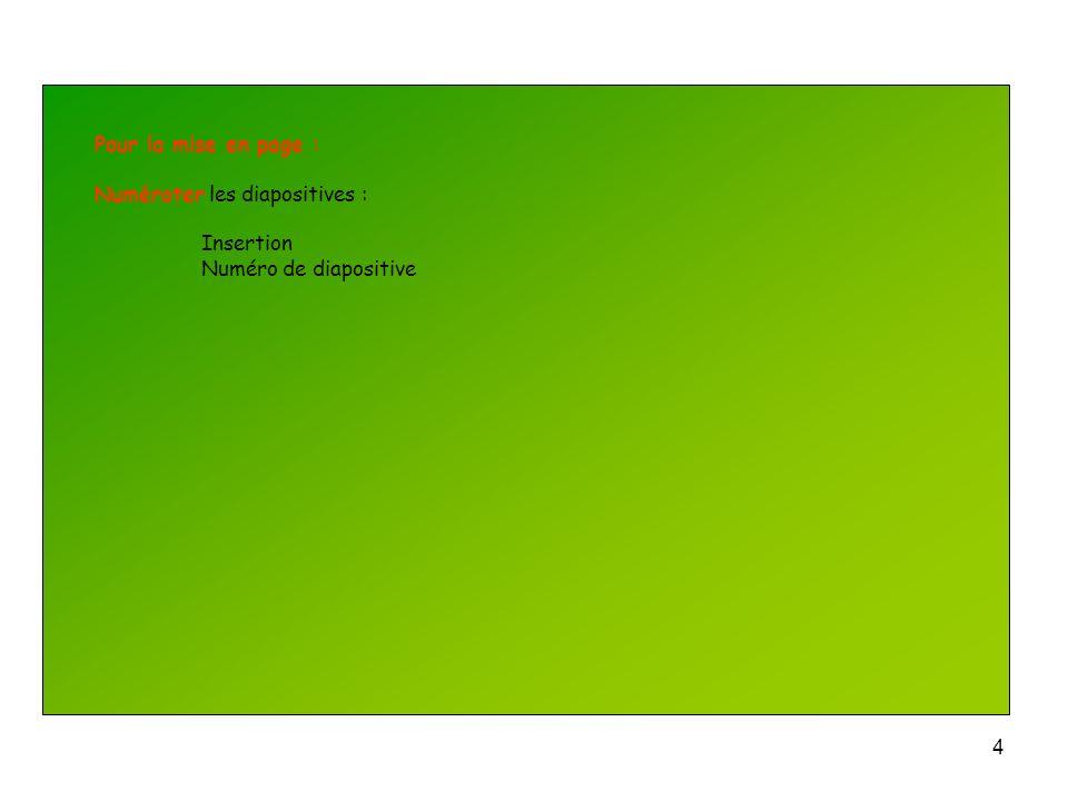 Pour la mise en page : Numéroter les diapositives : Insertion Numéro de diapositive