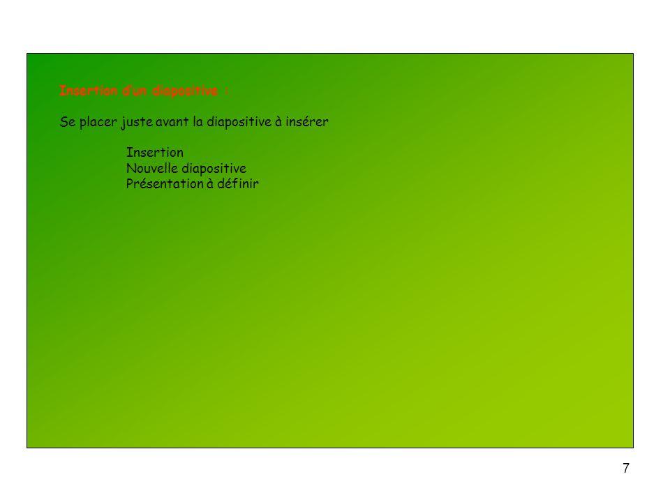 Insertion d'un diapositive :