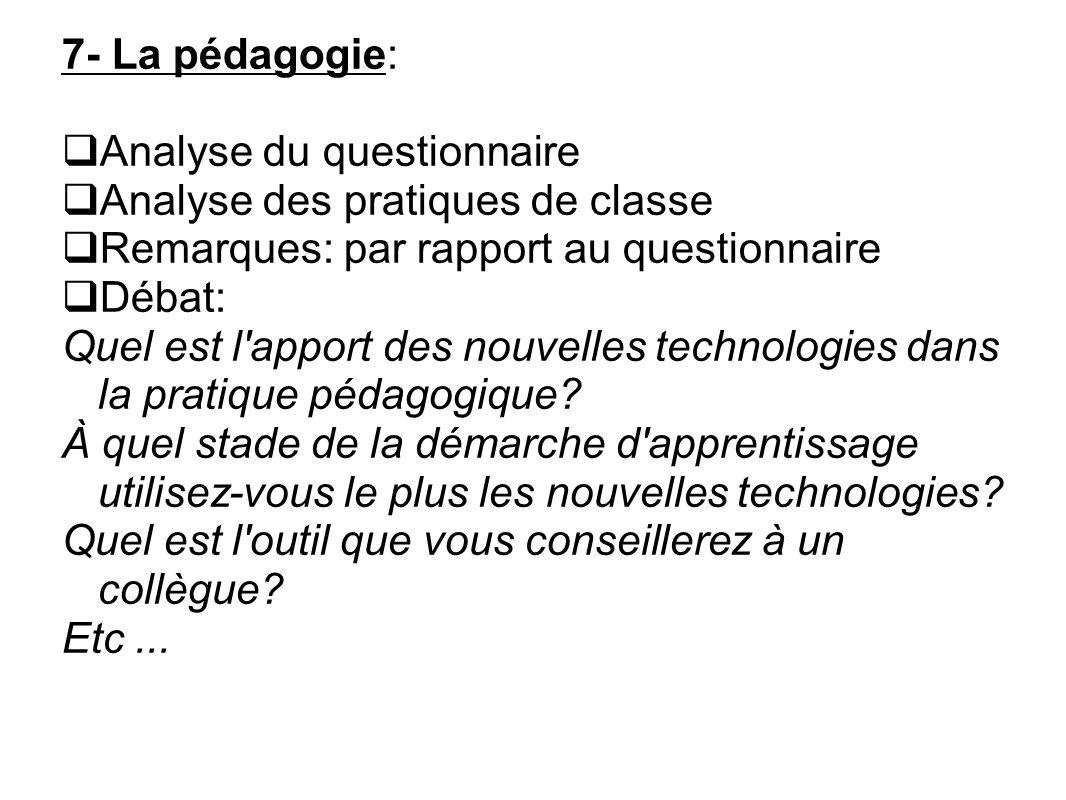 Analyse du questionnaire Analyse des pratiques de classe