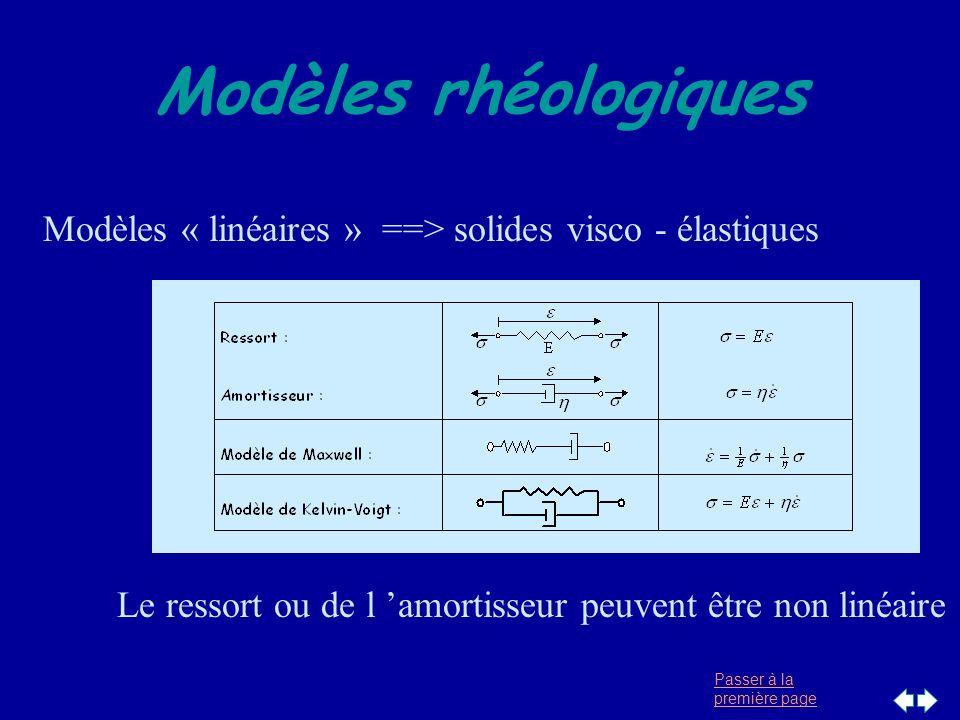 30/03/2017 Modèles rhéologiques. Modèles « linéaires » ==> solides visco - élastiques.