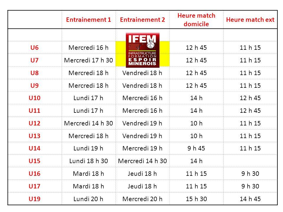 Entrainement 1. Entrainement 2. Heure match domicile. Heure match ext. U6. Mercredi 16 h. 12 h 45.