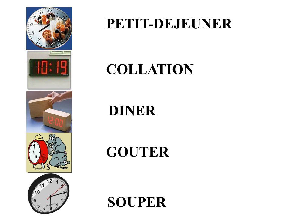 PETIT-DEJEUNER COLLATION DINER GOUTER SOUPER