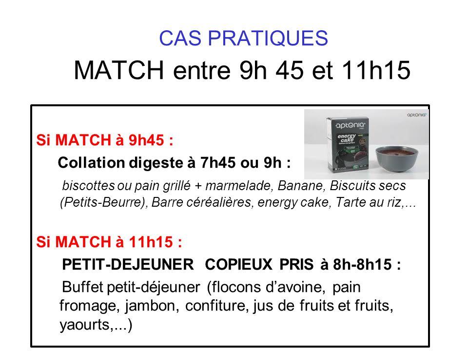 CAS PRATIQUES MATCH entre 9h 45 et 11h15