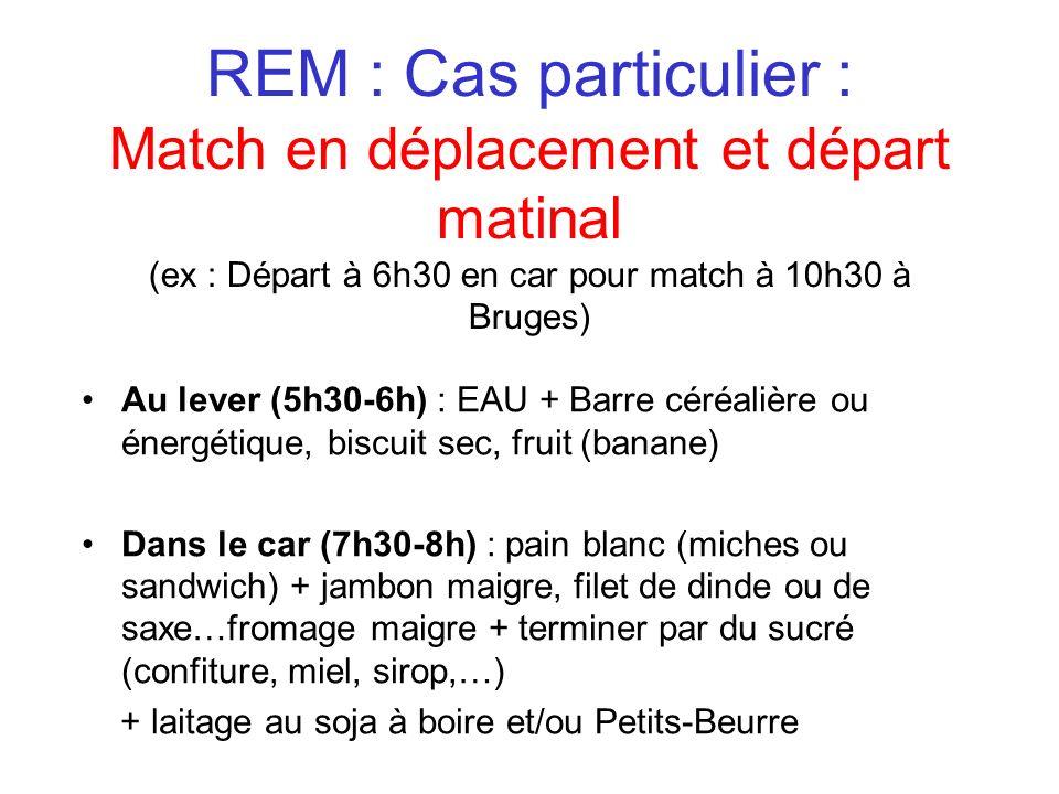 REM : Cas particulier : Match en déplacement et départ matinal (ex : Départ à 6h30 en car pour match à 10h30 à Bruges)