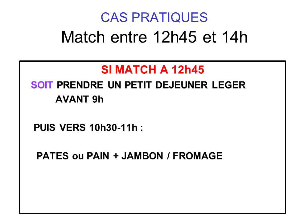 CAS PRATIQUES Match entre 12h45 et 14h