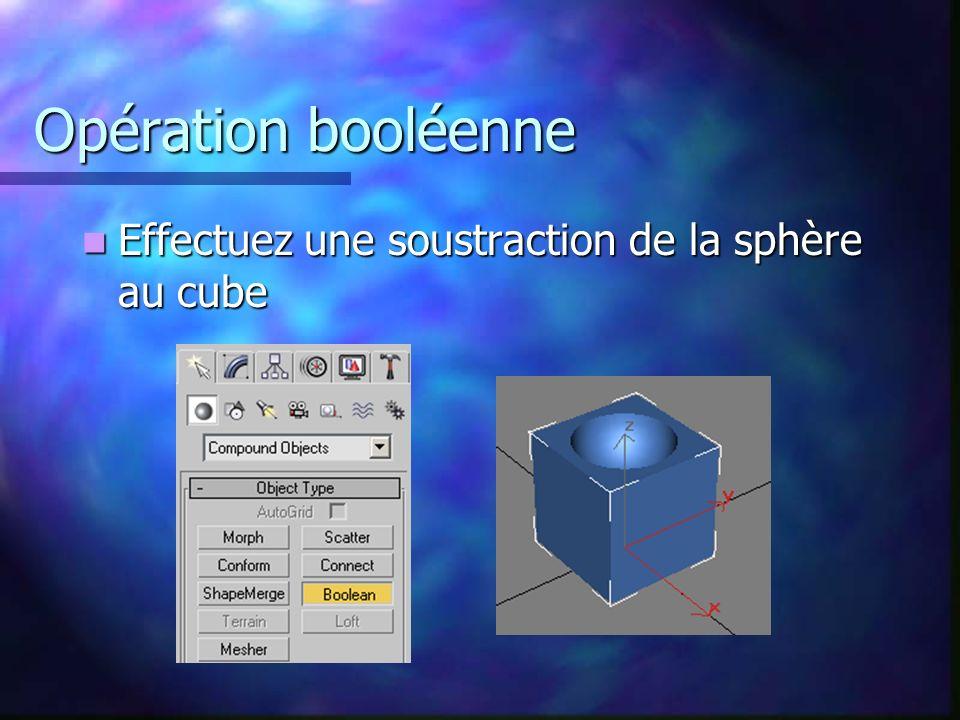 Opération booléenne Effectuez une soustraction de la sphère au cube