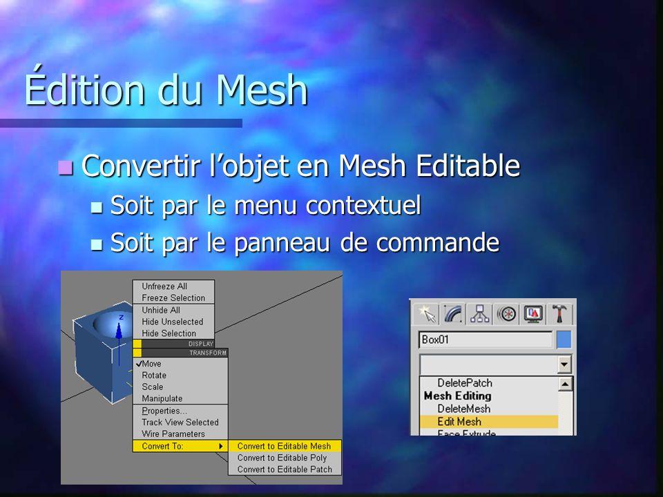 Édition du Mesh Convertir l'objet en Mesh Editable