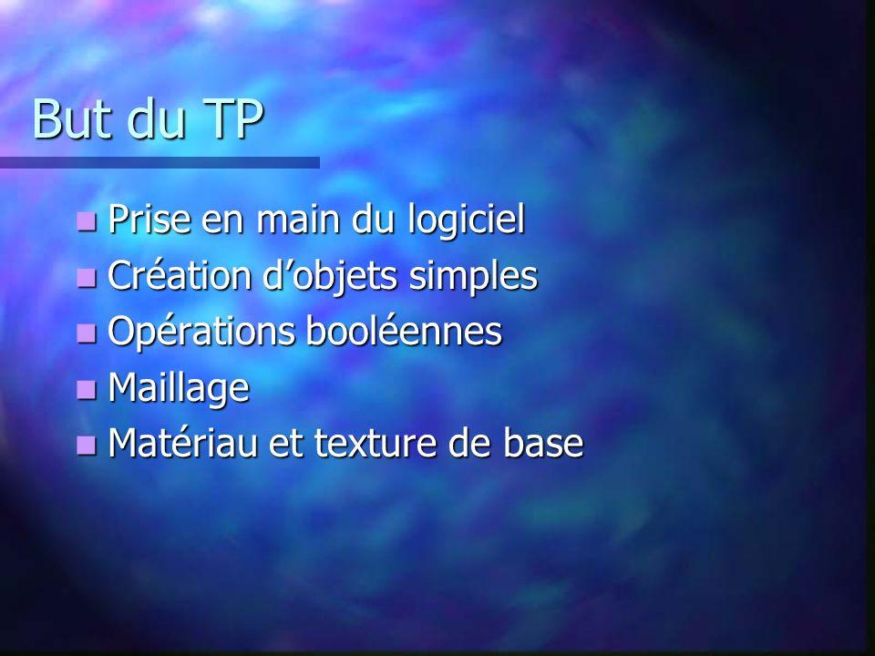 But du TP Prise en main du logiciel Création d'objets simples