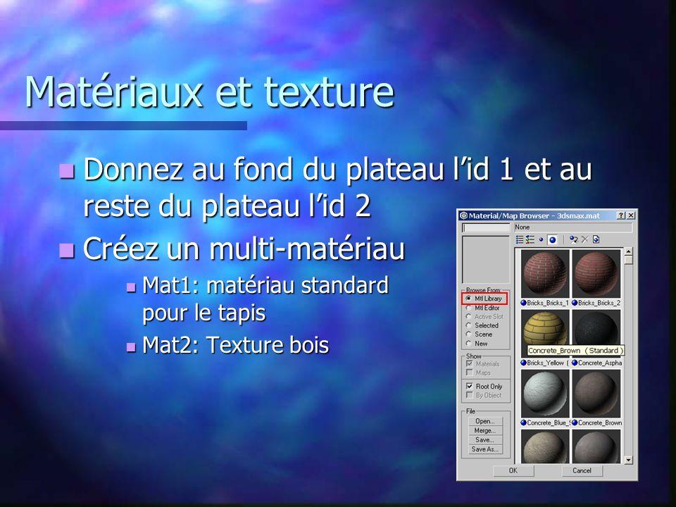 Matériaux et texture Donnez au fond du plateau l'id 1 et au reste du plateau l'id 2. Créez un multi-matériau.