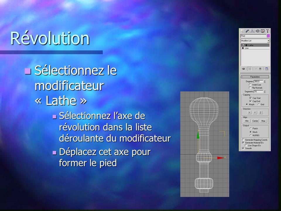 Révolution Sélectionnez le modificateur « Lathe »