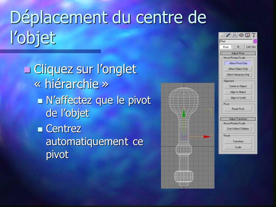 Déplacement du centre de l'objet