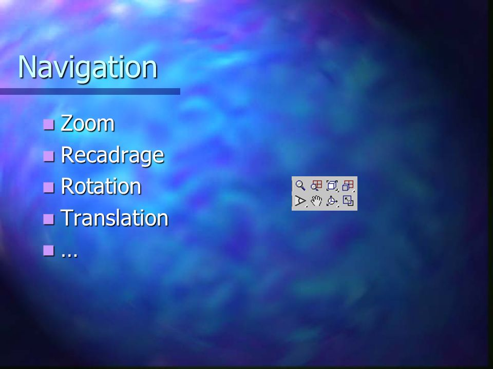 Navigation Zoom Recadrage Rotation Translation …
