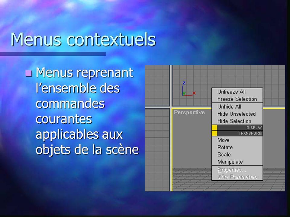 Menus contextuels Menus reprenant l'ensemble des commandes courantes applicables aux objets de la scène.