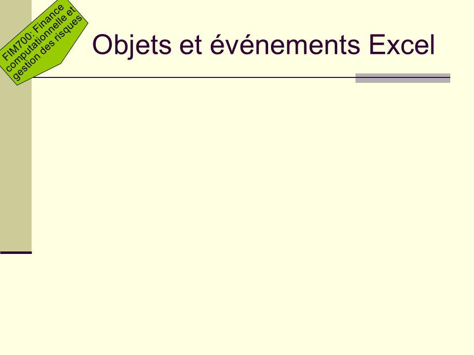Objets et événements Excel