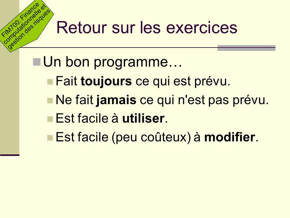 Retour sur les exercices