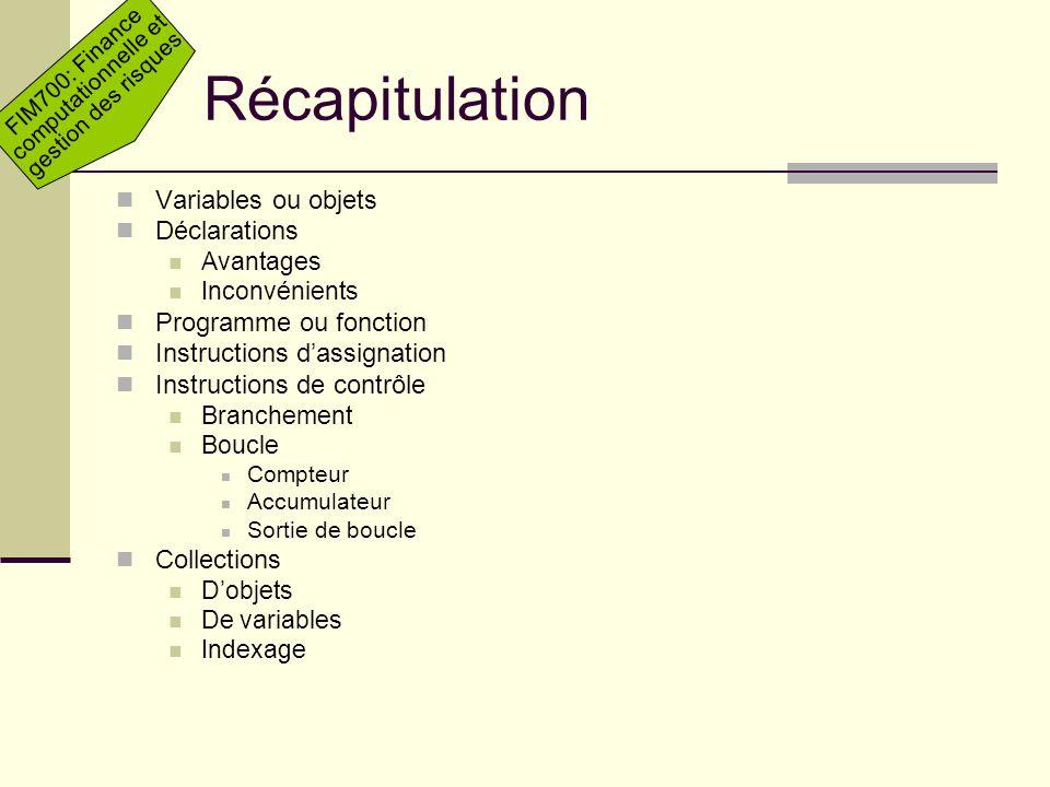Récapitulation Variables ou objets Déclarations Programme ou fonction