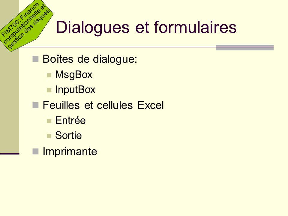 Dialogues et formulaires