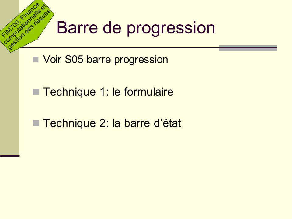 Barre de progression Technique 1: le formulaire
