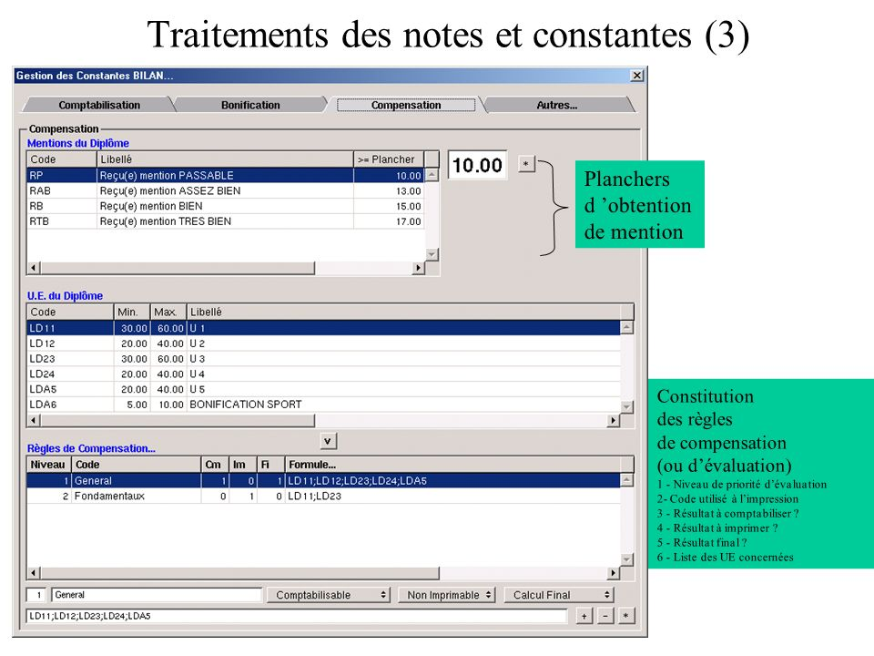 Traitements des notes et constantes (3)