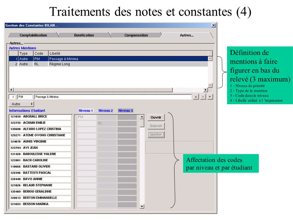 Traitements des notes et constantes (4)
