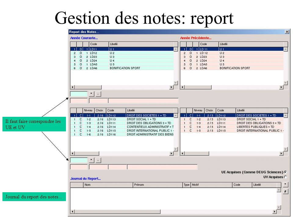 Gestion des notes: report