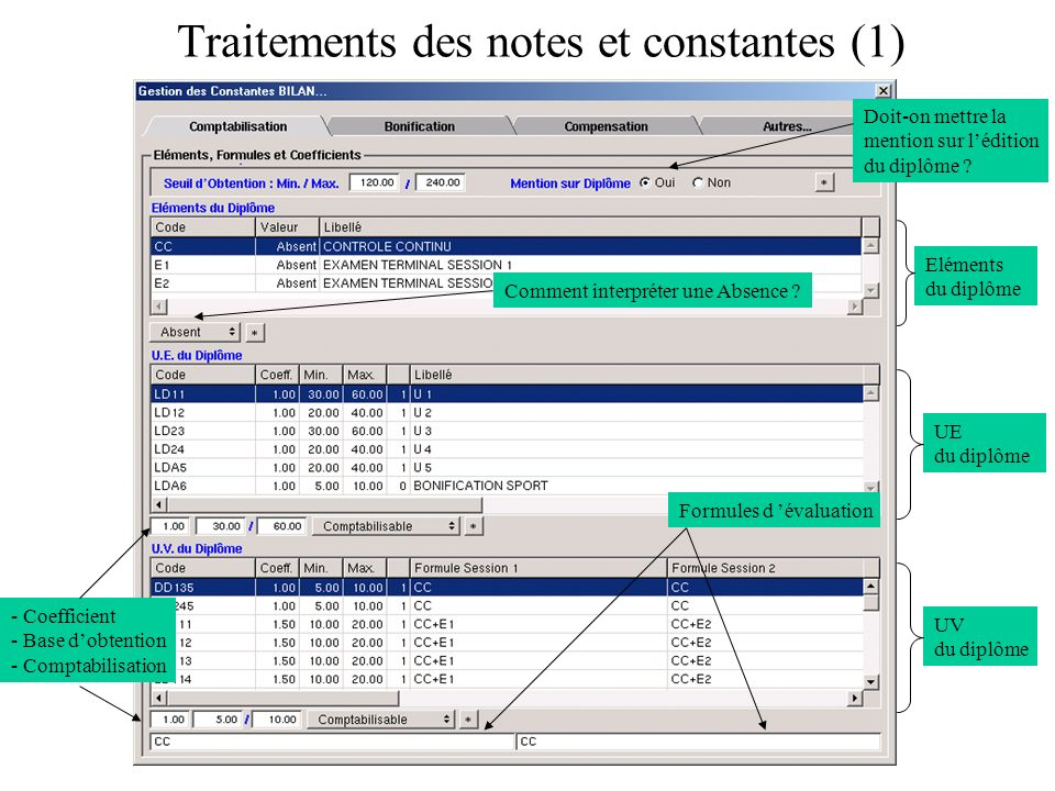 Traitements des notes et constantes (1)