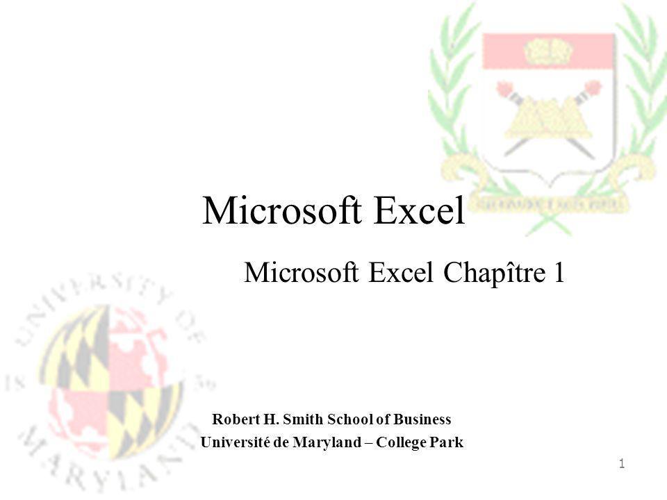 Microsoft Excel Chapître 1
