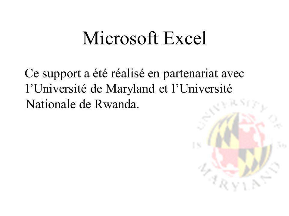 Microsoft Excel Ce support a été réalisé en partenariat avec l'Université de Maryland et l'Université Nationale de Rwanda.