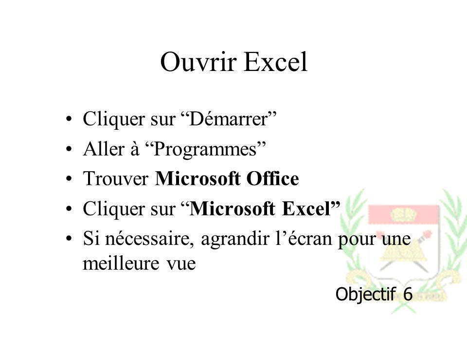 Ouvrir Excel Cliquer sur Démarrer Aller à Programmes