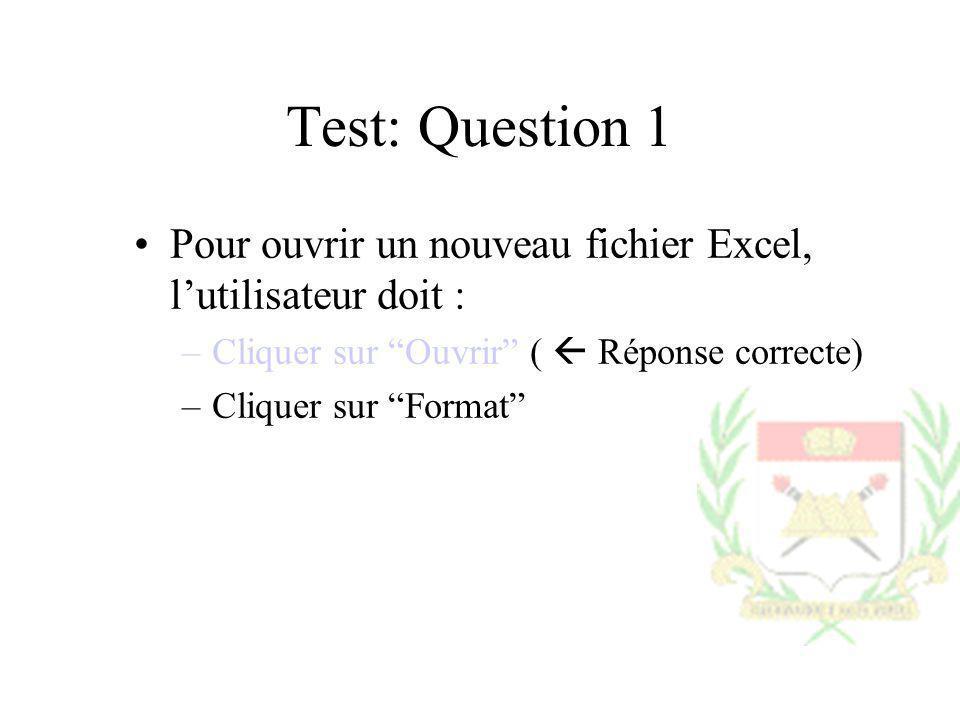 Test: Question 1 Pour ouvrir un nouveau fichier Excel, l'utilisateur doit : Cliquer sur Ouvrir (  Réponse correcte)
