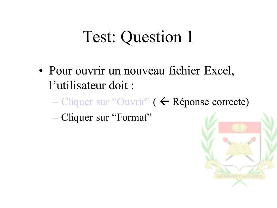 Test: Question 1Pour ouvrir un nouveau fichier Excel, l'utilisateur doit : Cliquer sur Ouvrir (  Réponse correcte)