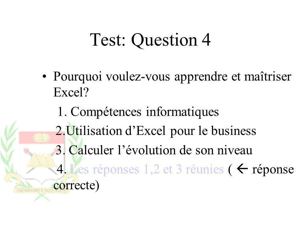 Test: Question 4 Pourquoi voulez-vous apprendre et maîtriser Excel