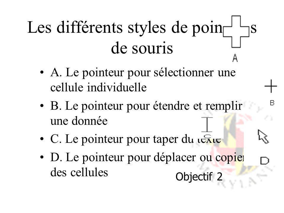 Les différents styles de pointeurs de souris