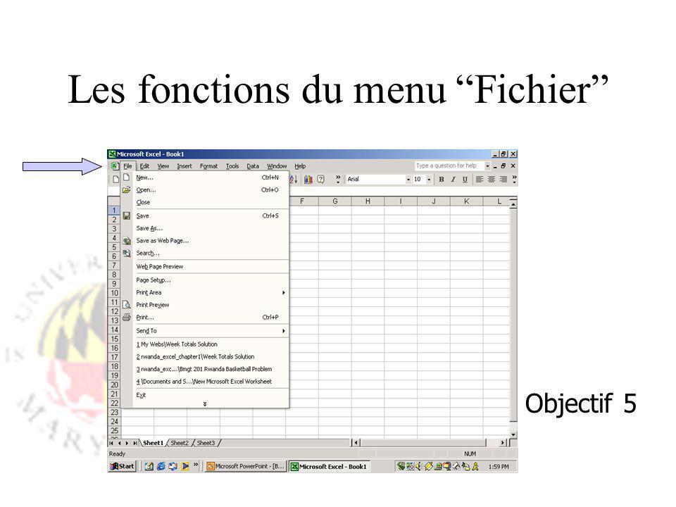 Les fonctions du menu Fichier